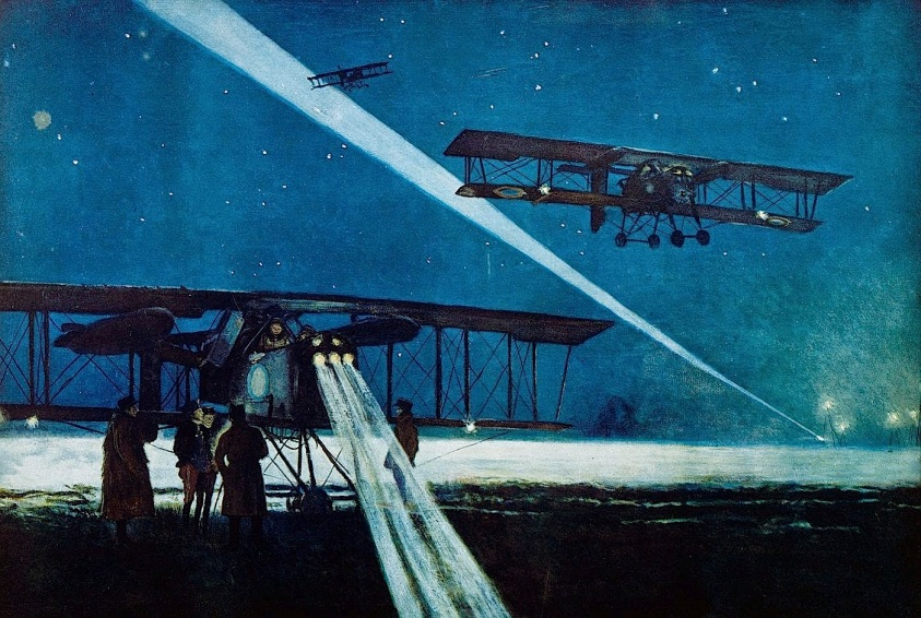 Returning from a night flight on aircraft Voisin Bomber francois flameng