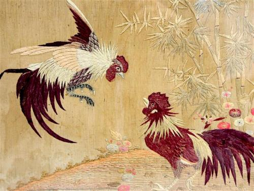 Antique-Chinese-Embroidery-Fighting-Roosters-Late-19th-C-Framed-H386d