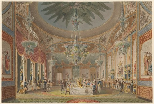 Ackermann, Rudolph; Agar, John Samuel; Le Keux, John; Nash, John; Pugin, Augustus Charles; Stephanoff, James; John Nash, <I>The Royal Pavilion at Brighton,</I> London 1826; The Banquetting Room, Royal Pavilion, Brighton